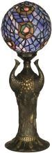 Dale Tiffany Replica Globe Peacock Table Lamp, Bronze, Hand-Rolled Art Glass