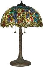 Floral Dale Tiffany Table Lamp, Hand-Rolled Art Glass, Bronze Verde Finish