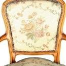 Vintage 1950 French Country Louis XV Arm Chair in Walnut with Floral Upholstery