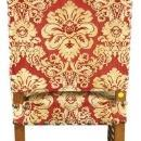 Vintage French Renaissance Dining Chairs, Red Patterned Brocade, Oak, Set/6