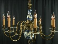 Large Vintage Blue Delft Chandelier, Hand Painted, 8 Arms, Delftware, Ceramic