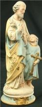 Antique French Chalkware Sculpture, Saint Joseph w/ Child Jesus, Father & Son