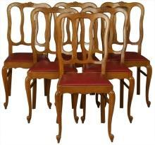 Vintage 1950s French Oak Dining Chairs Louis XV Style Set of 6