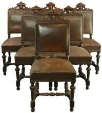 Set of 6 Antique French Renaissance Dining Chairs, Oak/Leather, 1900s France