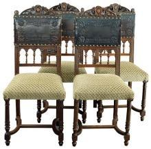 Set 4 Antique French Dining Chairs, Renaissance/Henry II, Walnut, Leather, Fabric
