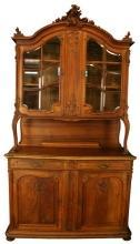 Large Antique French Buffet/Sideboard, 1900 Louis XV, Orig Beveled Glass Doors