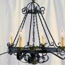 Vintage Spanish Mission Chandelier Wrought Iron/Brass Tone Metal, Round, 6 Light