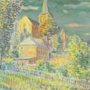 PRETTY Vintage Watercolor Painting Church Plein Air