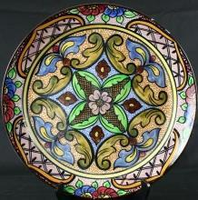 Vintage Spanish Majolica Hand-Painted Plate Mudejar