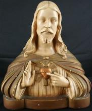 Antique French Art Deco Chalk Bust Jesus Sacred Heart