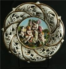 Vintage Italian Majolica Capodimonte Reticulated Plate with Goddess & Unicorn