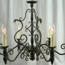 Vintage French Chandelier, Metal Asps/Snakes, Black, Gothic, Wood Column/Ball