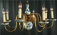Vintage Blue Delft Chandelier, Hand Painted Blue & White, 1950 Holland, 8 Arms