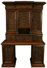 Heavily Carved Antique French Gothic Desk, Oak, Wood Keyboard Tray, Circa 1850