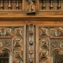 Antique Highly Carved Chestnut French Brittany Bookcase China Display Cabinet
