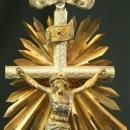 Ornate Antique French Standing Crucifix Cross in Metal, Sacred Heart, Sunburst