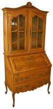 Vintage French Country Louis XV Secretary Bookcase, Oak/Glass, Ornate Carving
