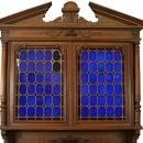 Large Antique French Buffet, 1900, Henry II, Cobalt Blue Stained Glass/Walnut