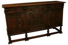 Vintage Carved Oak Spanish Mission Sideboard, Wrought Iron Style Hardware