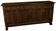 Large, Heavily Carved 1930 Spanish Oak Sideboard, Wrought Iron Hardware