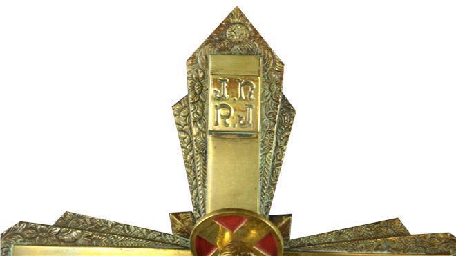 Antique 1920s Wall Crucifix Cross from France, Art Deco Design w/ Flowers, Brass