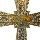 Antique 1920s Wall Crucifix Cross from France, Art Deco Design w/ Flowers, Brass