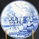 Small Vintage Blue Delft Plate Wool Cloth Making Autumn