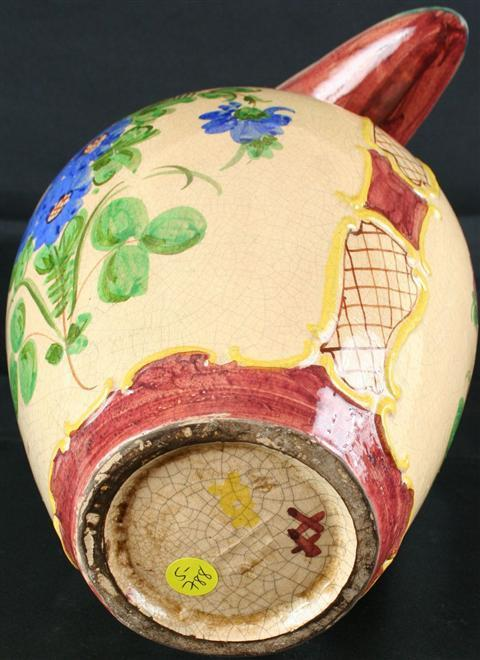 Large Vintage Italian Majolica Painted Pitcher Vase