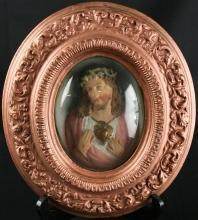 Antique French Convex Glass Framed Chalkware Sculpture of Jesus & Sacred Heart