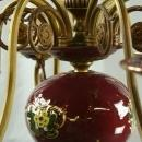 Vintage Bequet Chandelier, 1950 Belgium, Burgundy Ceramic & Metal, 8 Arms