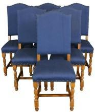 1930 French Country Dining Chairs Oak with Blue Upholstery Set of 6