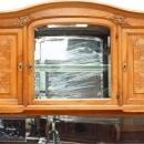 Antique French Art Deco Carved Walnut Burled Marble Veneer Buffet Mirrored Back