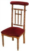 Antique French Prayer Chair or Prie Dieu Kneeler Chair, Mahogany Spindle Design