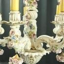 Vintage Italian 5-Arm Ceramic Capodimonte Style Chandelier w/ Bouquets of Roses