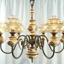 Vintage French Country Chandelier, Ceramic & Glass Globes, 6 Arms, Jester