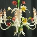 Vintage French Chandelier, 5arm, Lilies/Roses, Pink/Green/Yellow, Shabby/Cottage
