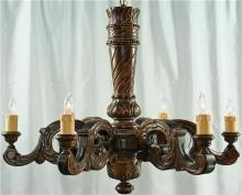 Massive Vintage French Renaissance Style Chandelier, Solid Oak, Ornately Carved
