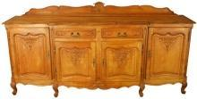 Vintage French Country Louis XV Oak Server Sideboard