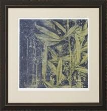 New Giclee Fine Art Print, Bamboo Type Leaves Dark Background, Framed, Textured