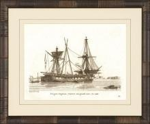 New Print Anonymous Reproduction Framed Boats Sailing Ships in Sepia Recta WA-79