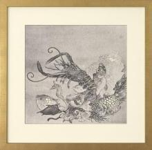 New Fine Art Giclee Print, Japanese Sea Life from Orig Litho 1875, Monochrome
