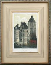 New Fine Art Giclee Print, French Castle, Turrets, Hand Colored, Repro Litho