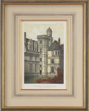 New Fine Art Giclee Print, Travel Chateaux Litho 1861, Hand Colored