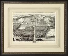 New Fine Art Giclee Print, Bird's Eye View of 1800s British Estate, Framed