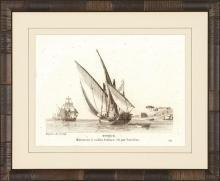 New Print Anonymous Reproduction Framed Boats Sailing Ships in Sepia Recta WA-78