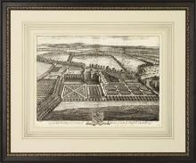 New Fine Art Giclee Print, Bird's Eye View 1700s English Estate, Framed