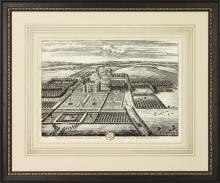 New Travel View Giclee Print, 1700s English Estate, Birds Eye View, Framed