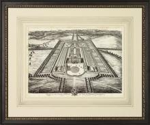 New Fine Art Giclee Print Reproduction, English Estate, Birds Eye View, Framed