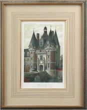 Reproduction Giclee Print, 1861 French Castle, Turrets/Moat, Hand Colored