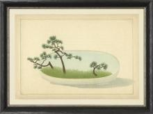 New Print Anonymous Reproduction Framed Trees Large Zen Gardens Rectangle WA-81